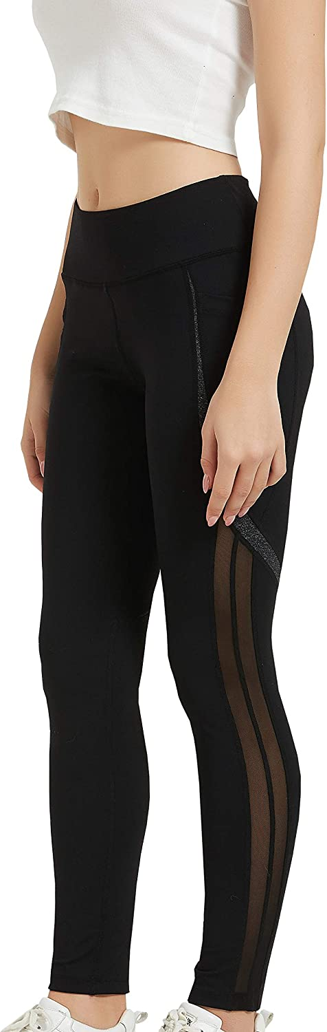 WARMII Womens Yoga Pants Running Mesh High Waist Workout Leggings Stretchy Tight Classic Pants
