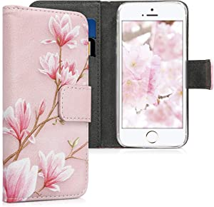 kwmobile Wallet Case Compatible with Apple iPhone SE (1.Gen 2016) / 5 / 5S - PU Leather Flip Cover with Card Slots and Stand - Magnolias Light Pink/White/Dusty Pink