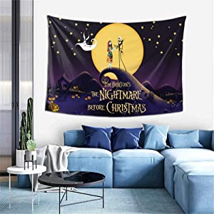 Bestrgi Tapestry Art Wall Hangings The Night-mare Before Christmas 3D Printing Wall Blanket Wall Art Comfort Throw Home Decor for Bedroom Living Room Dorm Decoration 60x40 Inches