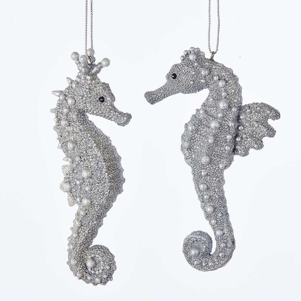 Amazon.com: Kurt Adler 4.25-Inch Silver Seahorse Ornament Set of 2: Home & Kitchen