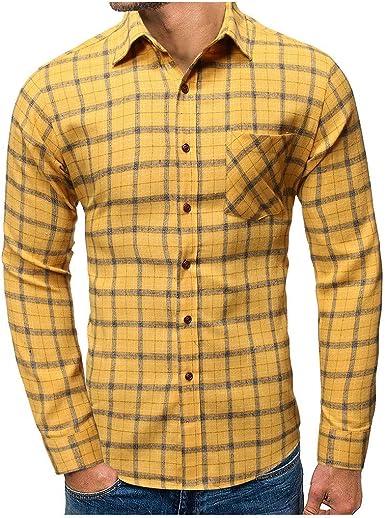 Camisa de manga larga escocesa para hombre, blusa de camisa con cuello enrollado de franela estándar fit hombre camiseta moda otoño e invierno: Amazon.es: Ropa y accesorios