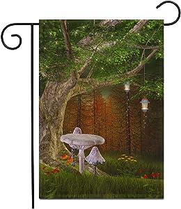 "Adowyee 12""x 18"" Garden Flag White Mushrooms Under a Fantasy Treetale Backdrop Fairy Wonderland Dream Elf Enchanted Outdoor Double Sided Decorative House Yard Flags"