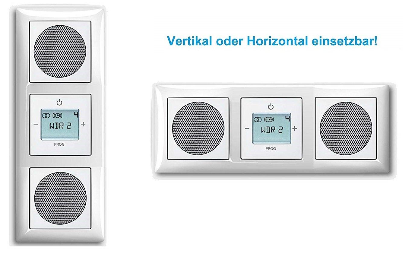 Busch Jäger Unterputz UP Digitalradio 8215 U (8215U) Komplett-Set Balance SI alpinweiß mit 2 x Lautsprecher in 3 fach Rahmen integriert inkl. Abdeckungen Busch Jäger