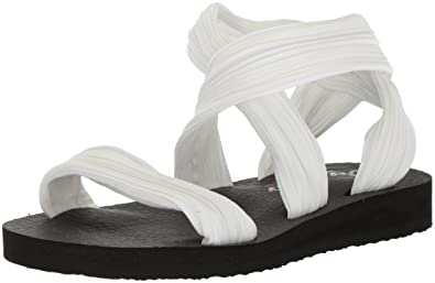 Skechers Cali Women's Meditation-Still Sky Flat Sandal,White,10 ...