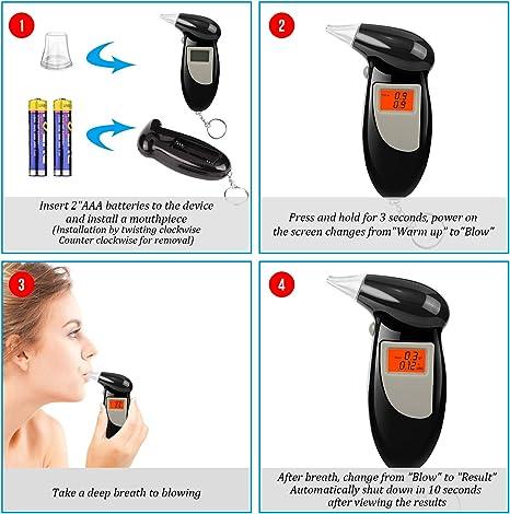 Redmoo Alkoholtester mit Halbleiter Sensor LCD Bildschirm Professioneller Promilletester Kommt mit 10 Mundst/ücke f/ür Treiber Hauptgebrauch