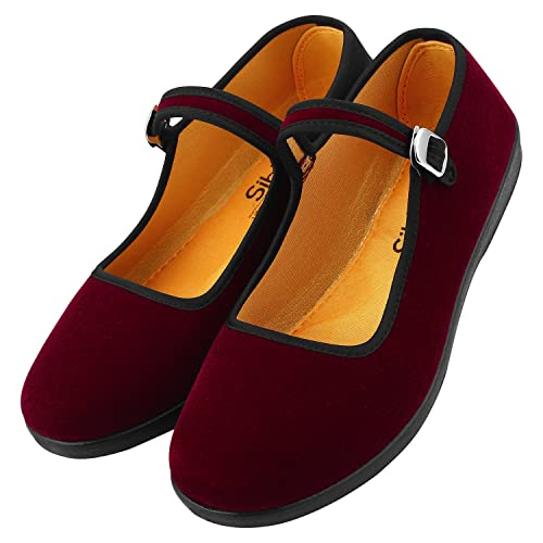 ed335cc0361 Women s Velvet Mary Jane Shoes Ballerina Ballet Flats Yoga Exercise Shoes  for Girls Kids (US8
