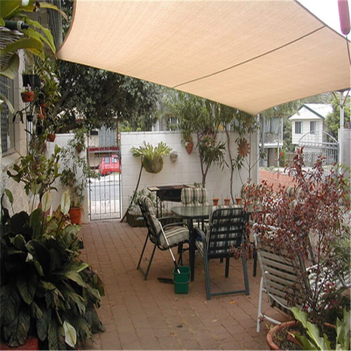 Color Beige Sombrilla Rectangular para Exteriores 3 x 2 m, 4 x 3 m dDanke