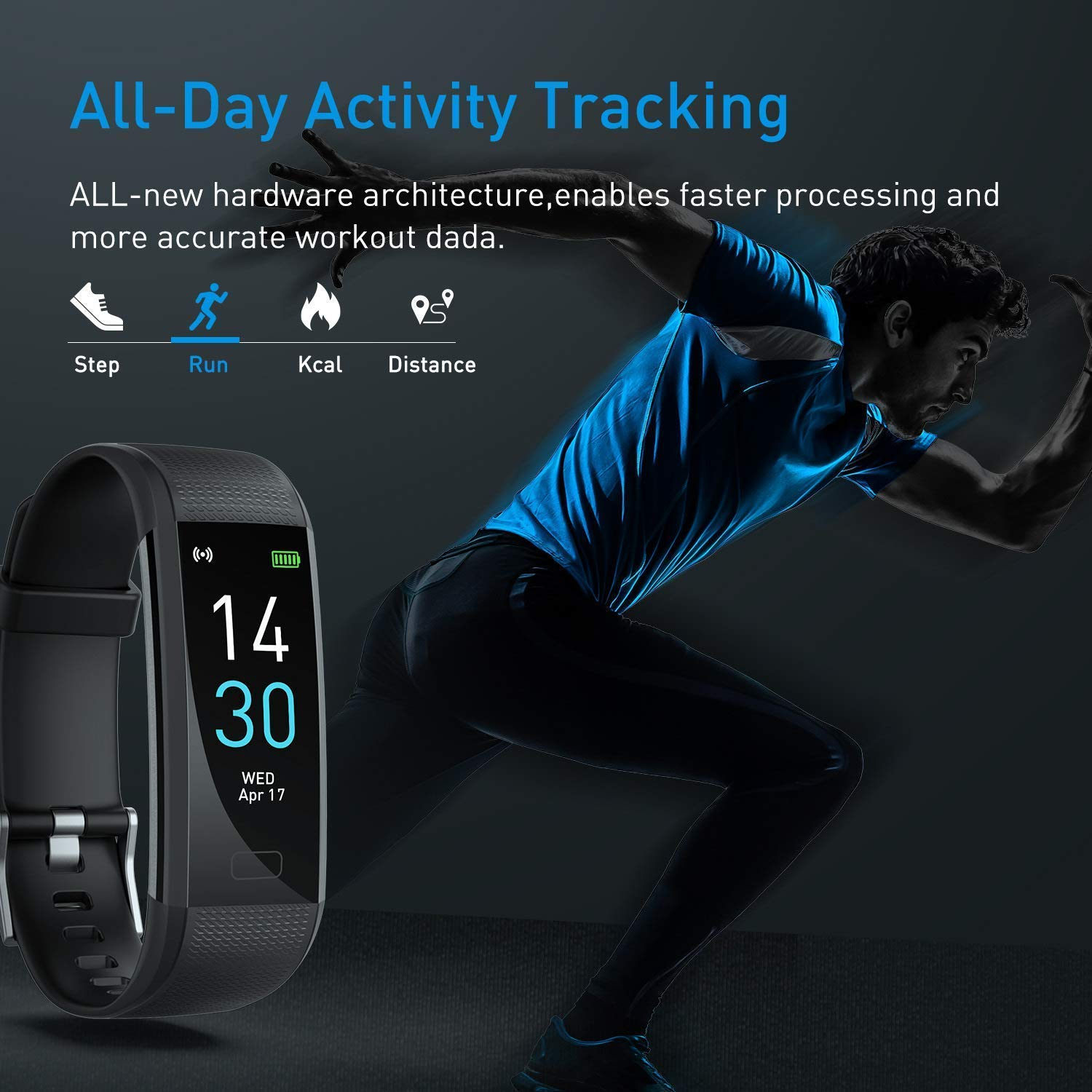 Fitness Tracker HR, Activity Tracker Watch with Heart Rate Monitor, IP68 Waterproof Smart Fitness Band with Step Counter, Calorie Counter, Pedometer Watch Black for Kids Women and Men