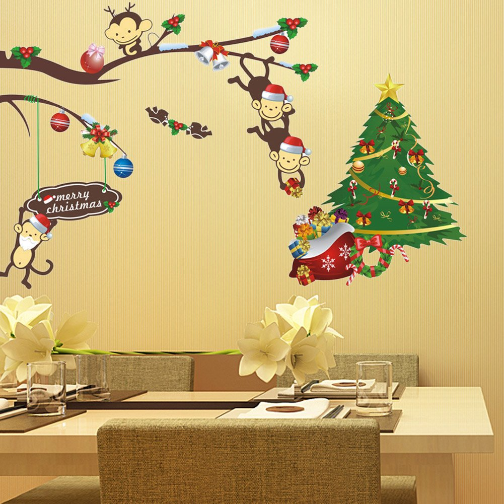 Amazon.com: Alloet Colorful Cute Monkey & Christmas Tree Wall ...