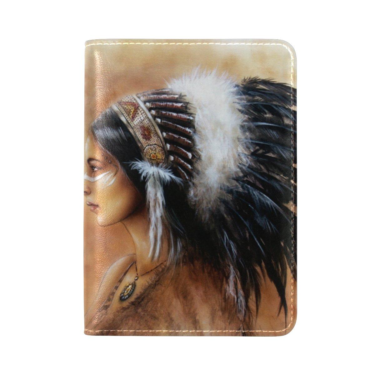 Native American Indian Art Prints Leather Passport Cover - Holder - for Men & Women - Passport Case