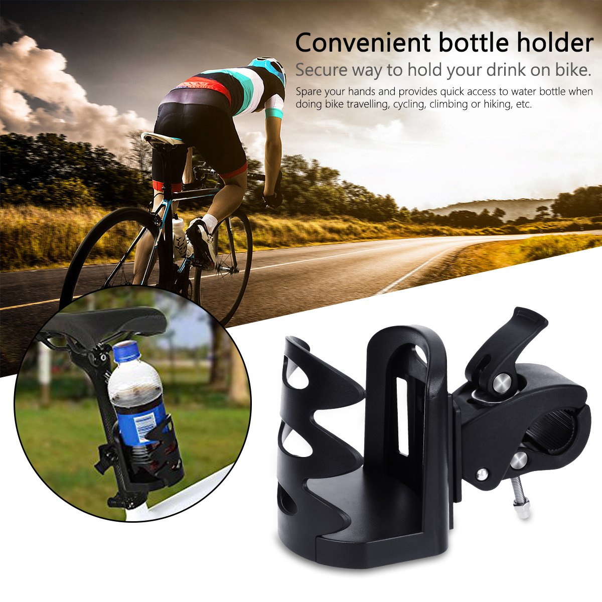 YoungRich 2 Pieces Bike Cup Holder Universal Cup Holder Storage Rack for Baby Stroller Wheelchair Pushchair Bicycle Stroller Cup Holder 360 Degree Rotation Black