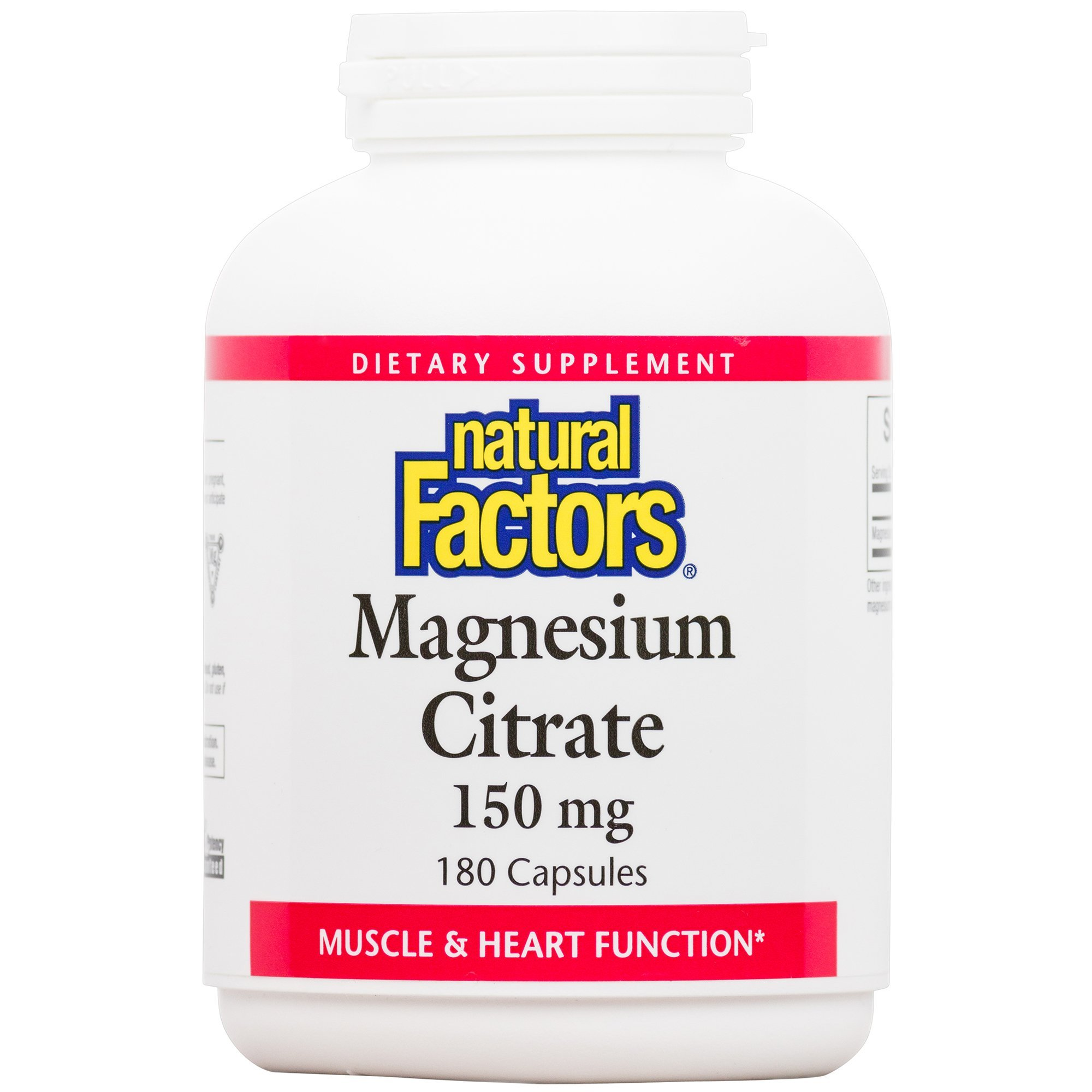 Natural Factors - Magnesium Citrate, Supports Muscle & Heart Function, 180 Capsules