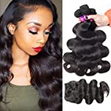 Rechoo Body Wave 3 Bundles with Lace Closure, Brazilian Virgin Hair 100% Unprocessed Remy Hair Bundles 300g with Lace Frontal Closure Free Part Hair Extension Very Soft Bouncy Natural Black
