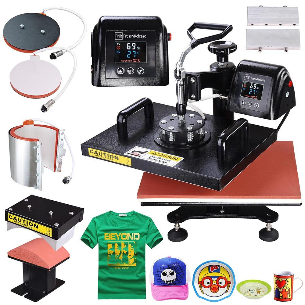 "PNR 5-in-1 Digital 12""x15"" Heat Press Machine LCD Timer Counter Sublimation Transfer for T-Shirt Plate Mug Hat"