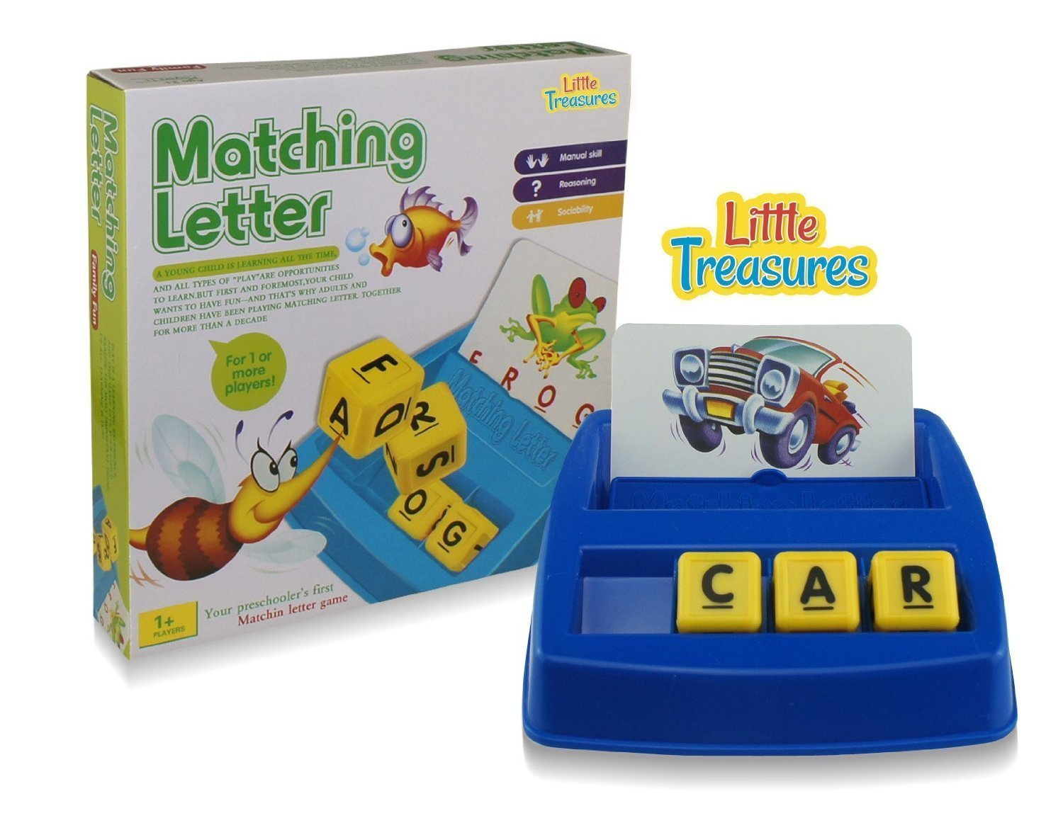 amazoncom little treasures matching letter game teaches word recognition spelling increases memory 3 years up toys games