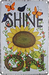TISOSO Butterfly Bird Garden Sunflowers Shine on Vintage Tin Bar Sign Country Farm Kitchen Wall Home Decor Art Signs Gift for Friend 8X12Inch