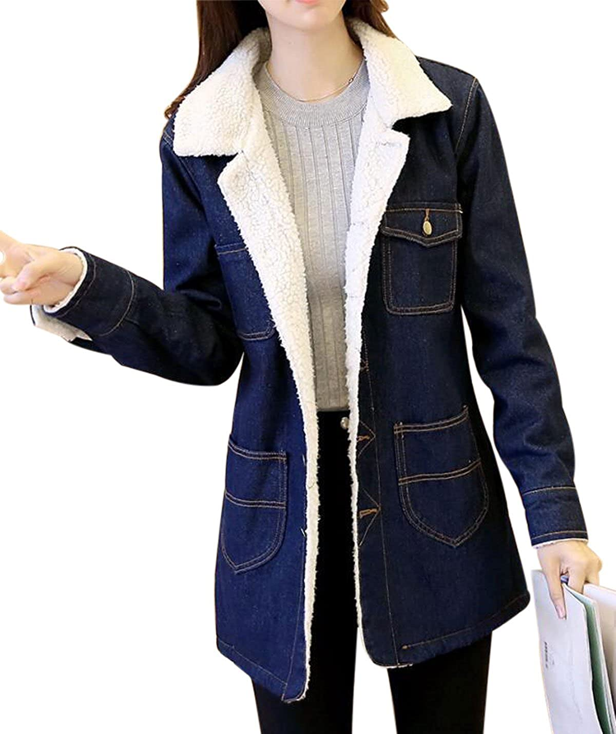Kedera Women's Mid Long Thick Fleece Sherpa Lined Windbreaker Denim Trucker Jacket