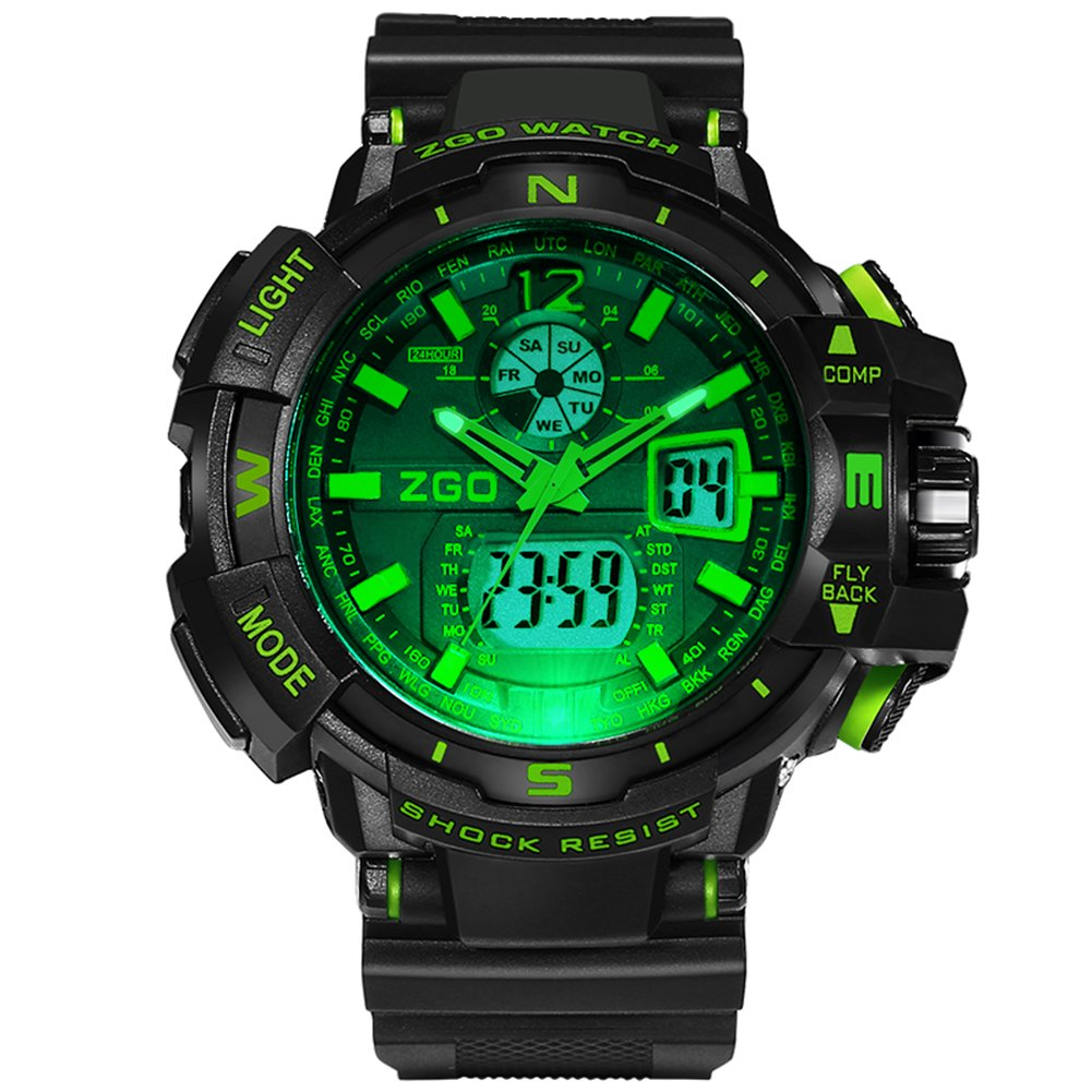 Gaintin Green Teen's Boy's High End Waterproof Analog Digital Large Face Watch by Gaintin
