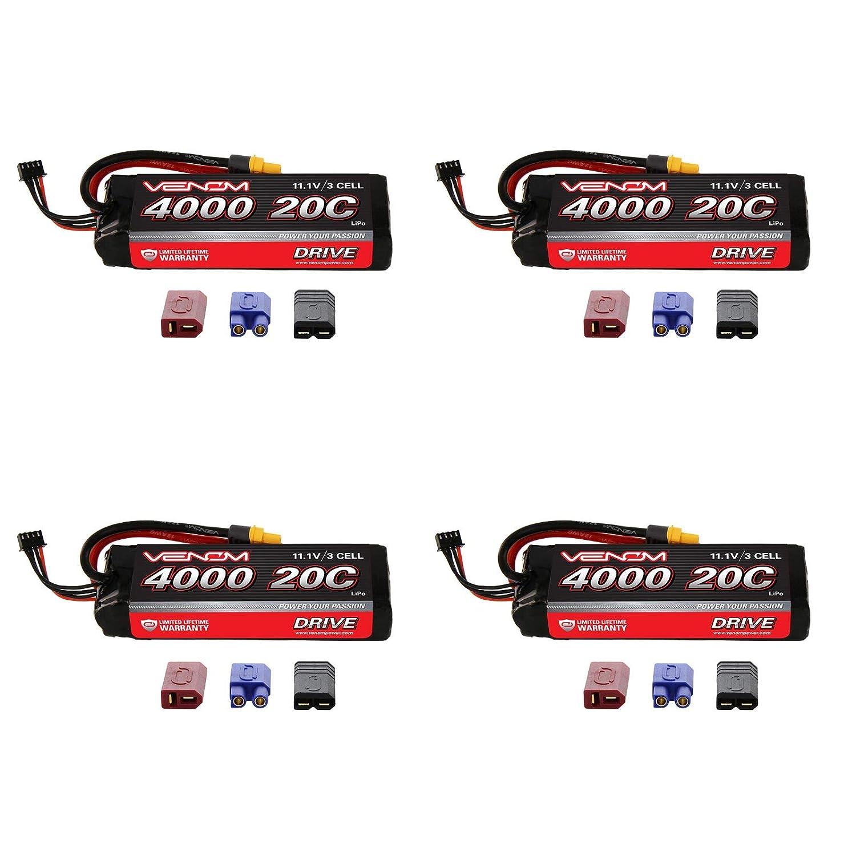 Venom 20C 3S 4000mAh 11.1 LiPO Battery with Universal Plug System x4 Packs