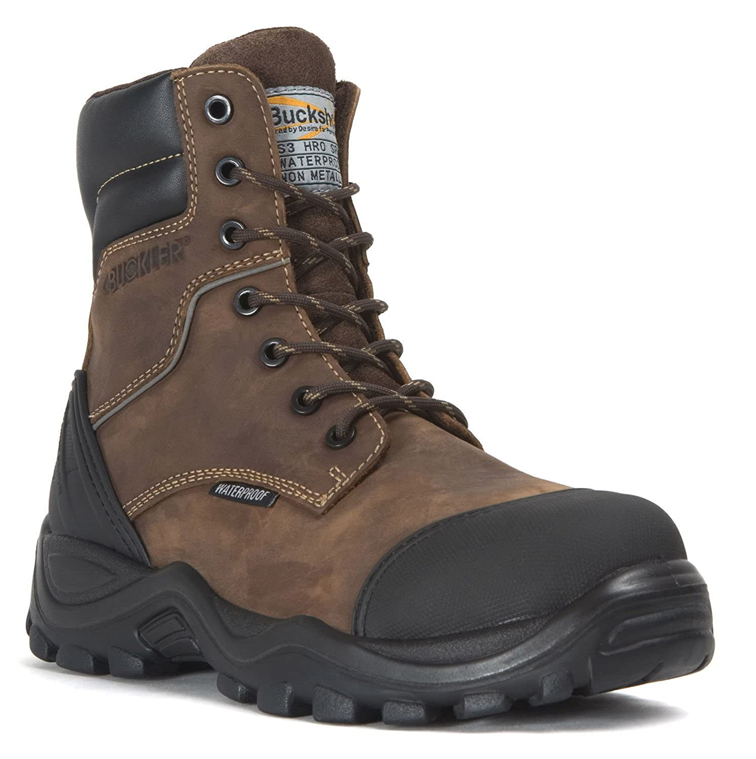 5d772cb5c4b Buckler BSH008WPNM Buckshot Dark Brown Lace/Zip Safety Work Boots | UK Size  6-13