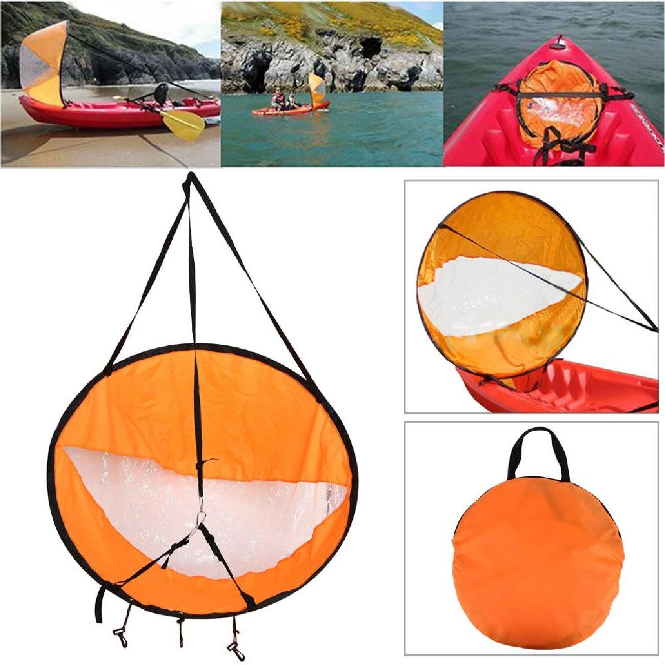 Liruis Kayak Downwind Kit 42 inches Kayak Canoe Accessories, Easy Setup & Deploys Quickly, Compact & Portable Orange