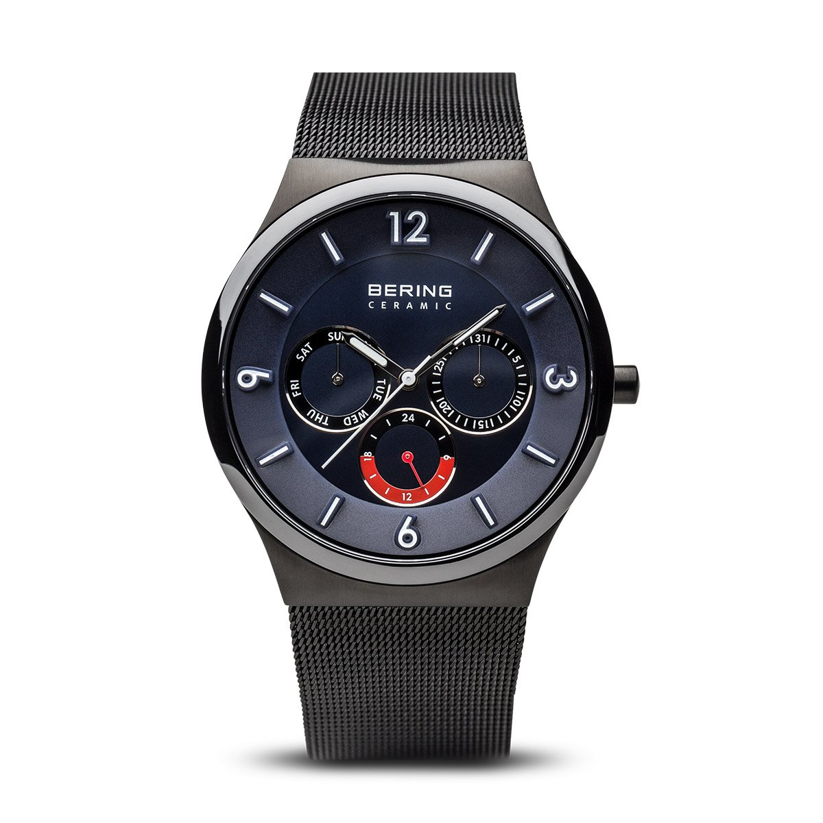 BERING Time 33440-227 Mens Ceramic Collection Watch with Mesh Band and scratch resistant sapphire crystal. Designed in Denmark.