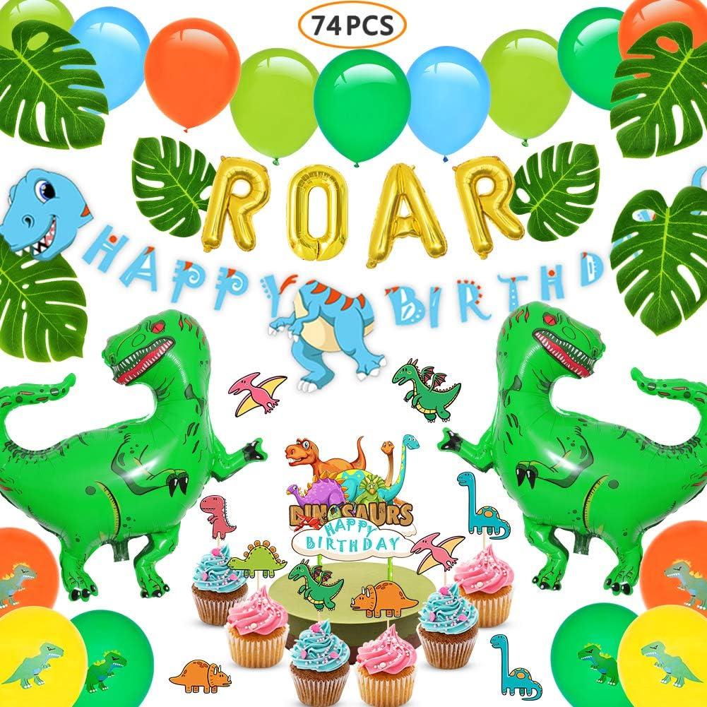 Amazon.com: Suministros de fiesta de dinosaurios – 74 piezas ...