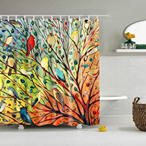 Boyouth Oil Painting Birds and Tree Pattern Digital Print Shower Curtains for Bathroom Decor,Polyester Waterproof Fabric Bath Curtain with 12 Hooks,70x70 Inches,Multicolor