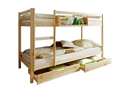 Cameretta bambini, letto a castello, in legno pino naturale: Amazon ...