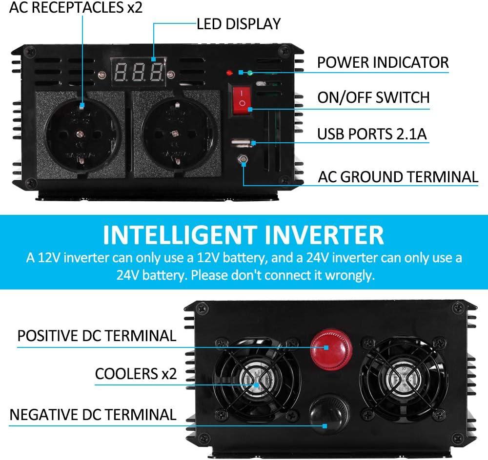 KRIPOL Convertisseur 1000W Onde Pur Sinus Onduleur DC 24v /à AC 220//230v avec t/él/écommande /& 2 AC Prises de Courant /& 2.1A Port USB Puissance de Pointe 2000Watt transformateur de Tension