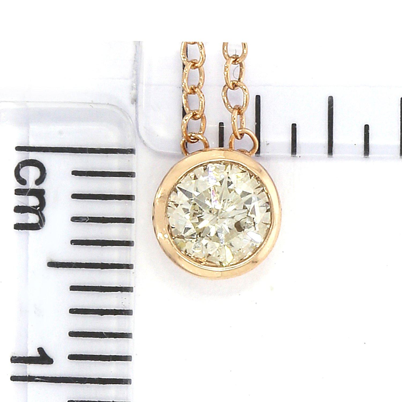 14k Gold Round Diamond Solitaire Pendant Necklace Bezel Set Women (0.33cttw, IJ / I2-I3) 18'' by EternalDia (Image #4)