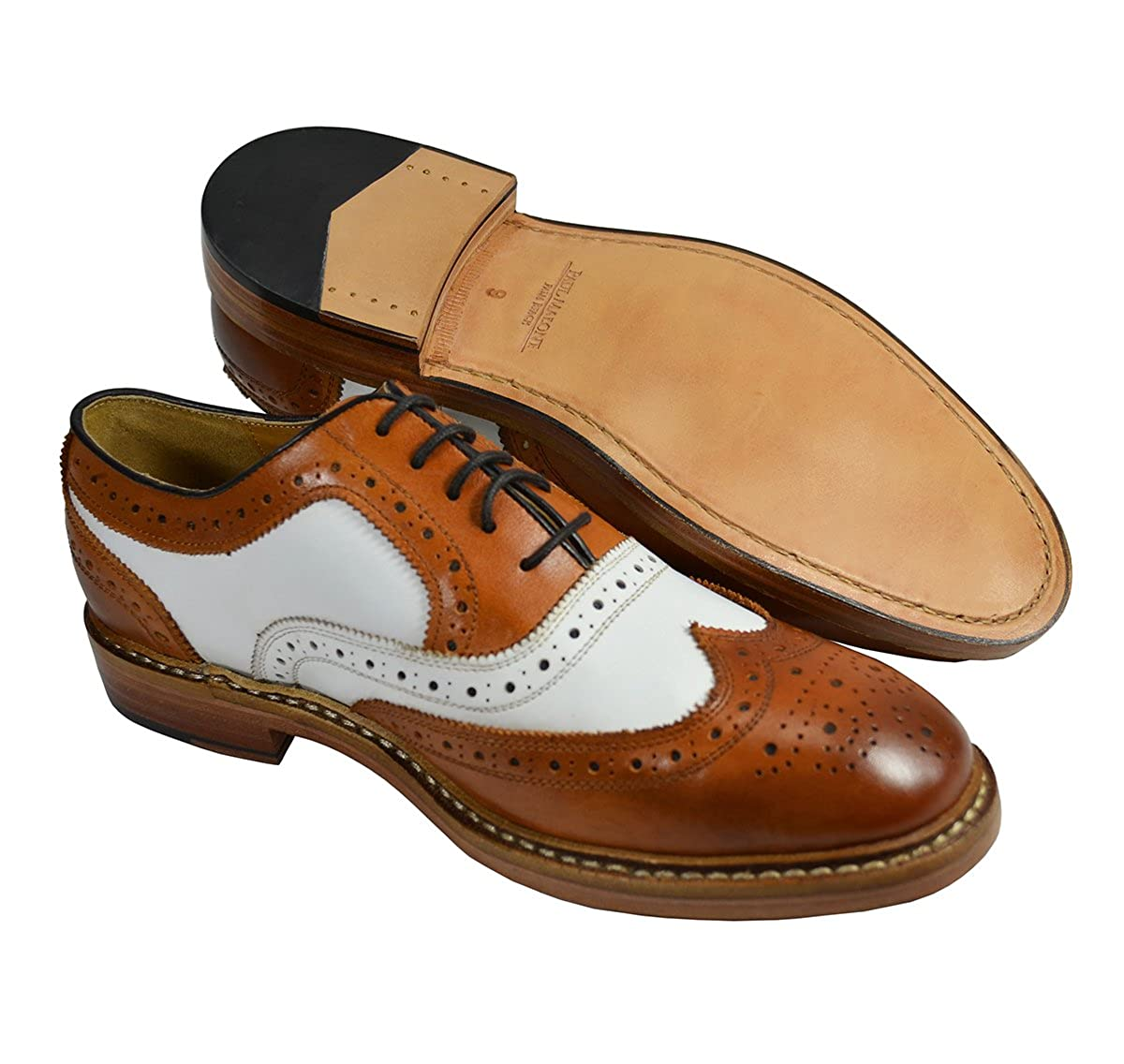 Mens Retro Shoes | Vintage Shoes & Boots Paul Malone Tan and White Wing Tip Spectators 100% Leather $157.97 AT vintagedancer.com