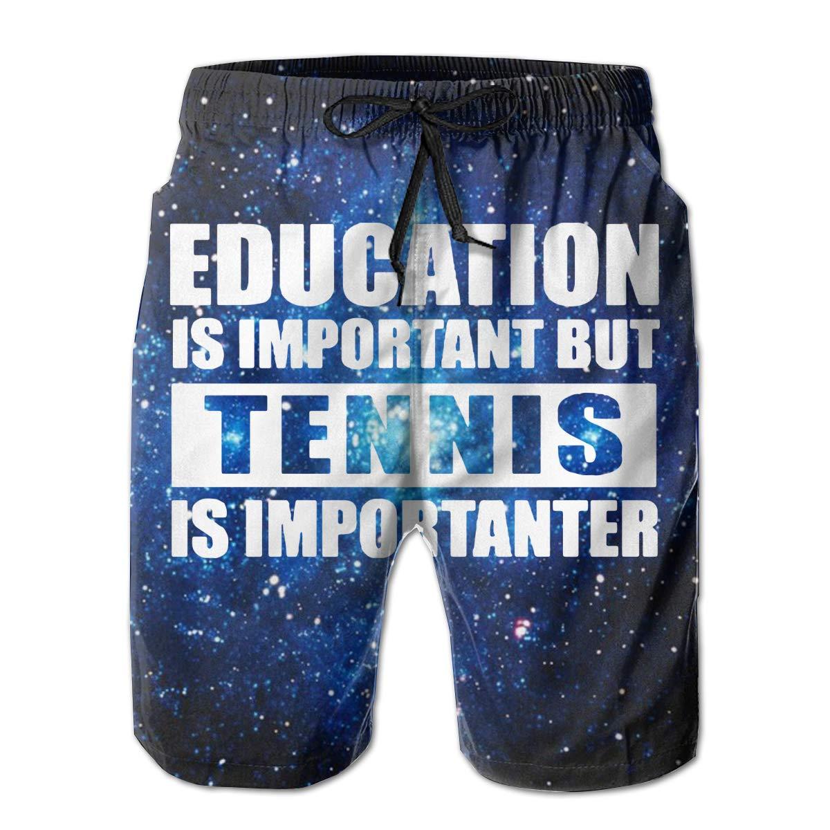 UHT28DG Tennis is Importanter Mens Beach Shorts Quick Dry Bathing Suit