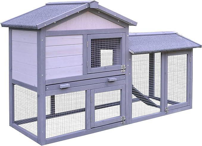 Pawhut Conejera Exterior Conejo Cobaya Bandeja Extraíble Casa para Animal Pequeño Jaula de Mascota de Madera 147x54x84cm