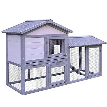 PawHut Conejera Madera de Exterior Jaula para Conejo Cobaya Bandeja Extraíble Casa para Animal Pequeño Jaula de Mascota de Madera 147x54x84cm: Amazon.es: ...