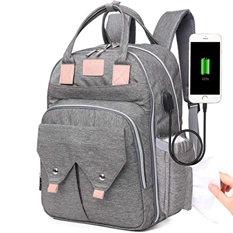 Mummy Rucksack w// USB Port Maternity Bag Baby Nappy Diaper Changing Backpack