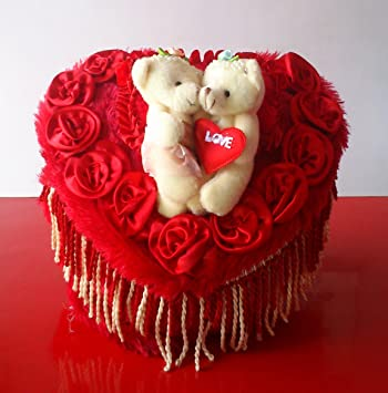 Buy Red Heart Shaped Royal Plush Bed With Love Couple Teddy Bears Online At Low Prices In India Amazon In