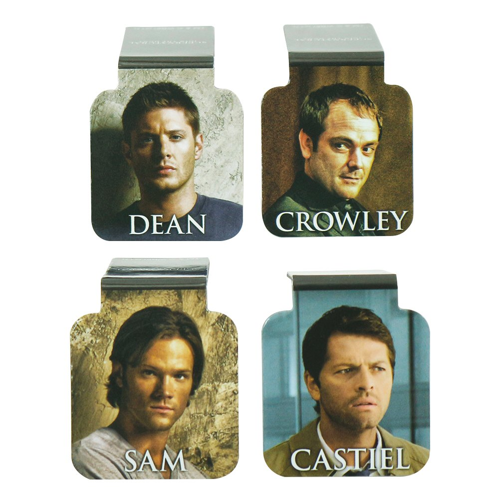 Ata-Boy Supernatural Cast Set of 4 1'' Magnetic Page-Top Bookmarks