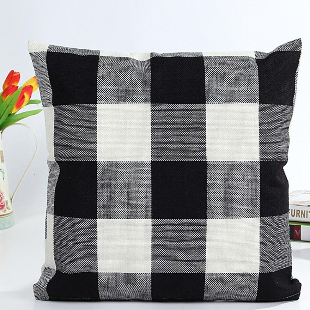 Pillowcase, Zulmaliu Lattice Pillow Cases Geometric Embroidered 18 X 18 Inches (Black)