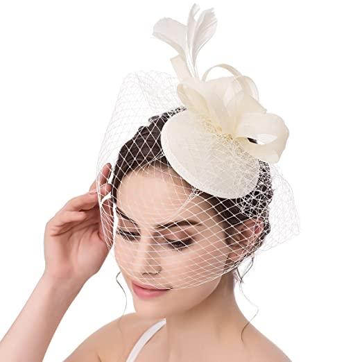 Abaowedding Feather Fascinator Cocktail Party Hair Clip Pillbox Hat A Ivory  TS002 bf41d7af9e50