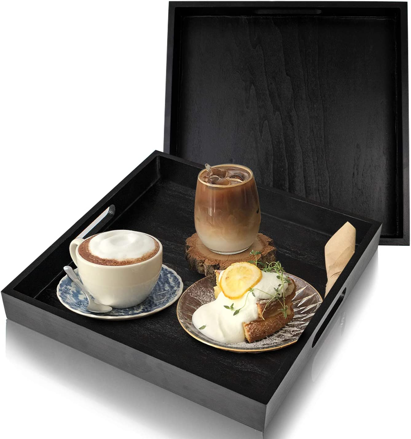FOVERN1 Serving Tray, Set of 2 Wooden Serving Trays with Handle, Ideal for Serving Breakfast, Coffee, Dinner, Wine, Appetizer, Bar, and Food, Party or Display Use - Black