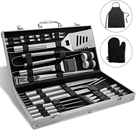 Monbix BBQ Grill Set Stainless Steel, Professional Barbecue Grill Tool Set, BBQ Accessories Barbecue Grill Set – 33 Pieces with Case