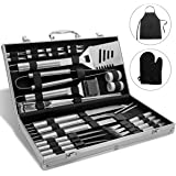Monbix GL-70733 BBQ Grill Accessories, 33 Piece, Stainless Steel Utensils, Heavy Duty Grill Set with Aluminum Storage Case