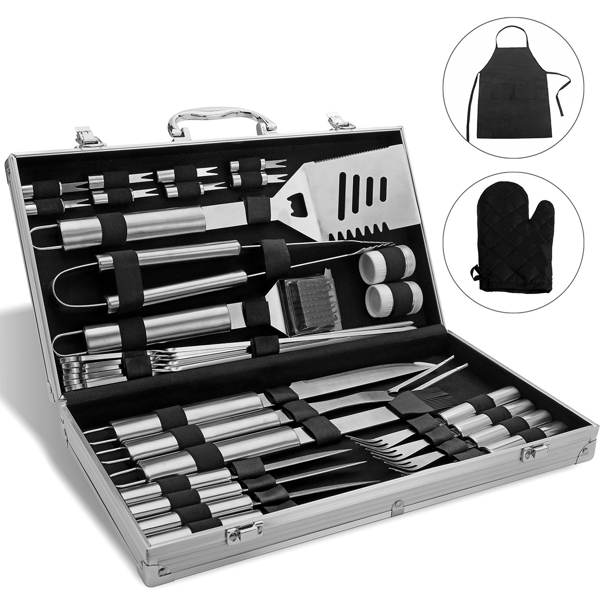 monbix gl-70733 barbacoa accesorios, 33 piezas, utensilios ...