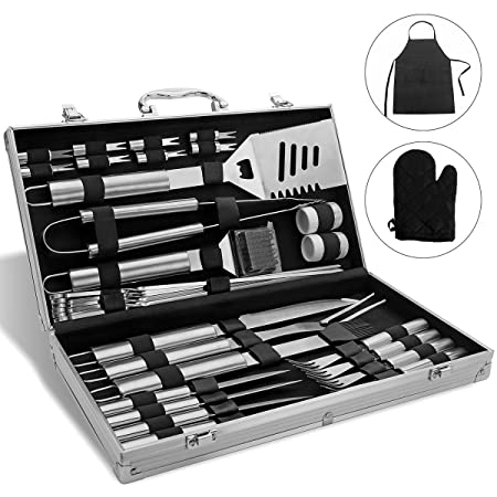 Monbix GL-70733 BBQ Grill Accessories, 33 Piece, Stainless Steel Utensils, Heavy Duty Grill Set with Aluminum Storage Case