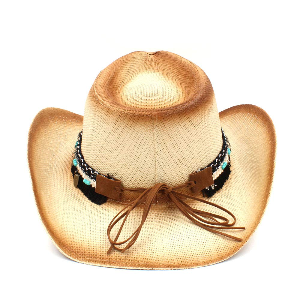 LL Womens Straw Western Cowboy Hat with Western Band for Elegant Lady Sombrero Hombre