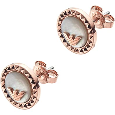 dad08faa5 Emporio Armani Caged Rose Gold Plated Mother Of Pearl Studs EGS2563221:  Amazon.co.uk: Jewellery