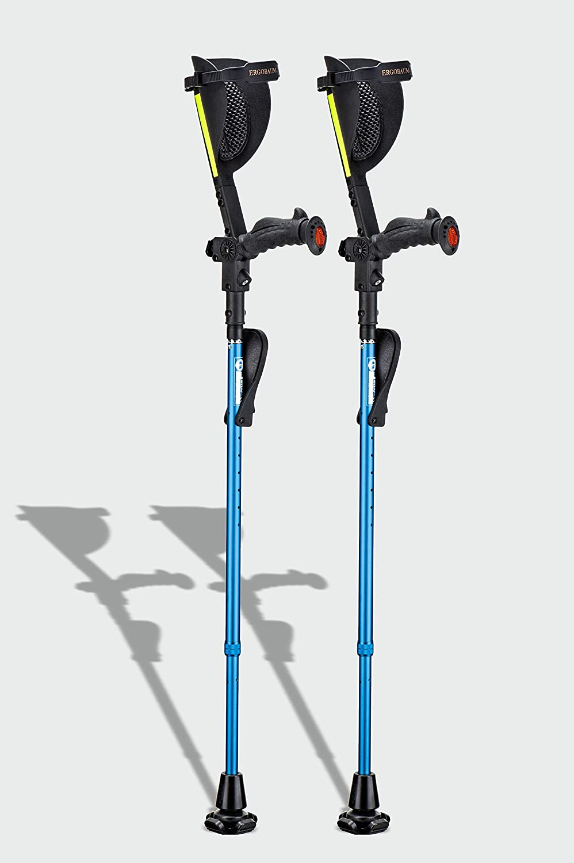 Ergobaum® Prime 7TH Generation by Ergoactives. 1 Pair (2 Units) of Ergonomic Forearm Crutches - Adult 5' - 6'6'' Adjustable (Blue)