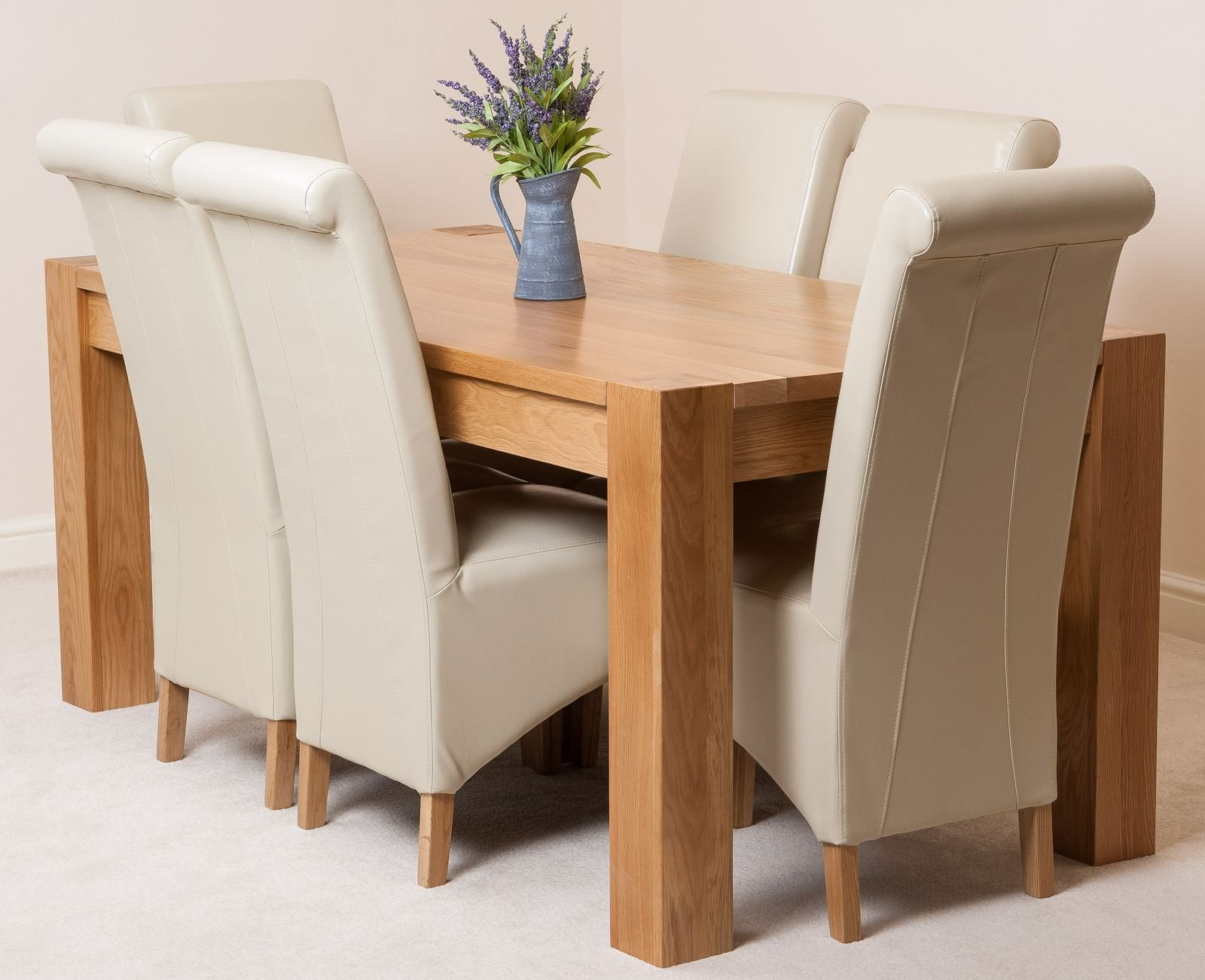 Kuba 6 Seater Dining Table And Chairs 6ft Chunky Solid Oak Dining Table And 6