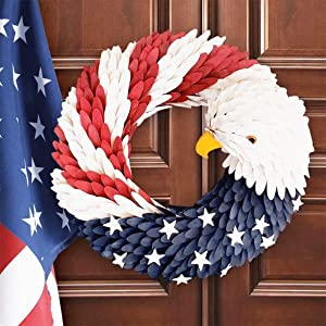 American Eagle Wreath, Handcrafted Americana Patriotic Wreath USA July 4th Wreath, American Flag Wreath Garland Floral Door Wreath for Home Front Door Decor Wall Flower Election Vote President (L)